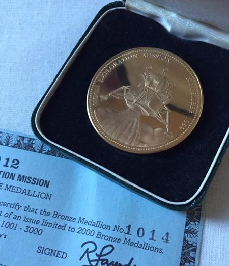 Very Rare Solid Bronze Apollo 12 Limited to 2000 Medallion In Original Case
