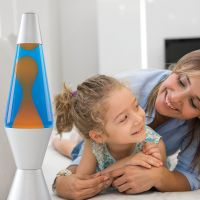 Lava Lamp 14.5 Inch Lamp In Orange/Blue Aluminium Quality Retro Space Rocket Shape Lighting