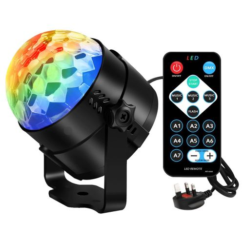 Smooth Red Green Blue LED Moving Colour Changing Mirror Ball Lighting Effec