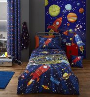 Galaxy Outer Space Duvet Set Blue Single Bedding With Pillow Case