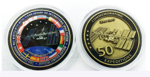 ISS Space Station Milestone The 50 Expeditions Medallion Edition Medal