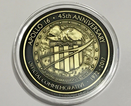 Apollo 16 Medallion 45 Years Anniversary Minted With Flown Command Module P