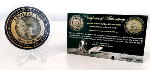 Apollo 12 Medallion Minted With Flown To Lunar Orbit Metal NASA With COA