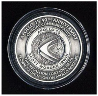 Apollo 15 40th Anniversary Medallion with Space Flown Metal NASA