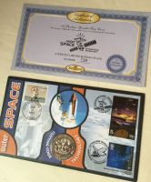 NASA Space Shuttle Cutting Edge Technology, Outer Space Benham Medallion Coin & Stamps With COA Paper Work