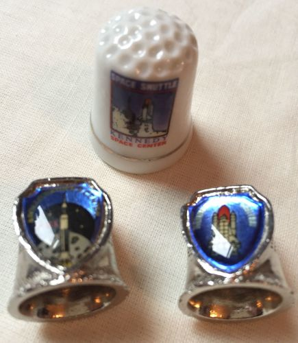 Set of 3 Thimbles Shuttle And Saturn V Rocket Metal And Ceramic