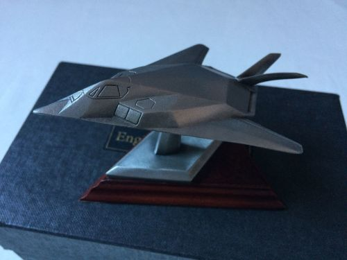 Solid Pewter Stealth F-118 Area 51 Desk Model Aircraft On Wood Stand Displa