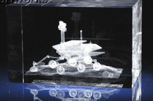 Small Stunning Mars Rover Spirit Laser Crystal Display Piece Rare
