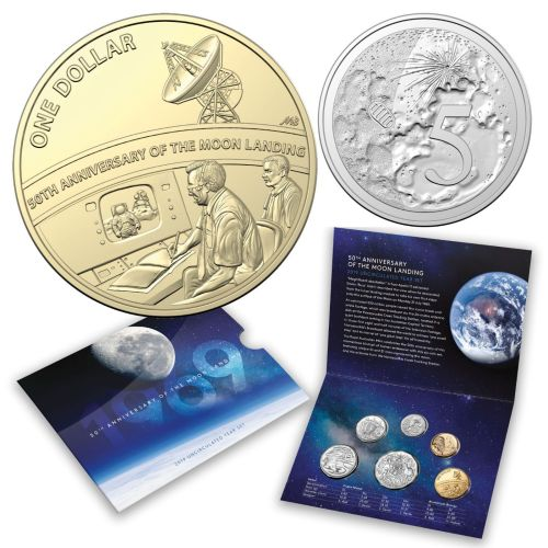 Australia 2019 6 Coin Set 50th Anniversary Moon Landing Special NASA Space