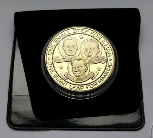Moon Landing 18K Gold Plated Medallion Coin Apollo 11 Neil Armstrong Space