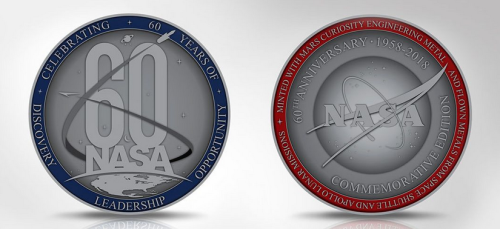 NASA 60 Years Commemorative Medallion With Space Flown Metal Rare Collector