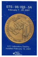 STS-98/ISS-5A Medallion Contains Real Flown Metal NASA Shuttle Space Station ISS