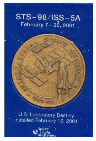 STS-98/ISS-5A Medallion Contains Real Flown Metal NASA Shuttle Space Statio