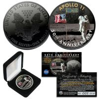 SPACE Black RUTHENIUM 50th Apollo 11 NASA 1 OZ US Solid Silver Eagle Coin LTD 169