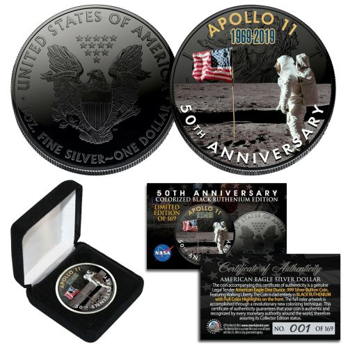 SPACE BLACK RUTHENIUM 50th Apollo 11 NASA 1 OZ US Solid Silver Eagle Coin L