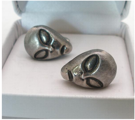 Alien Face UFO Area 51 Solid Pewter Cufflinks In Display Box