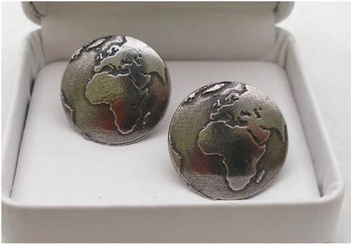 Planet Earth Cufflink In Fine English Pewter Handmade Crafted Display Gift
