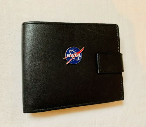 NASA Space Logo Genuine Leather Wallet Black