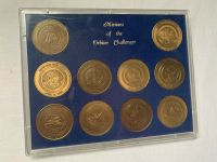 Challenger NASA Space Shuttle Missions Rare 10 Medallions Set In Display Case