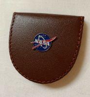 Leather Nasa Space Money Coin Wallet With Metal Logo Plaque Apollo Moon