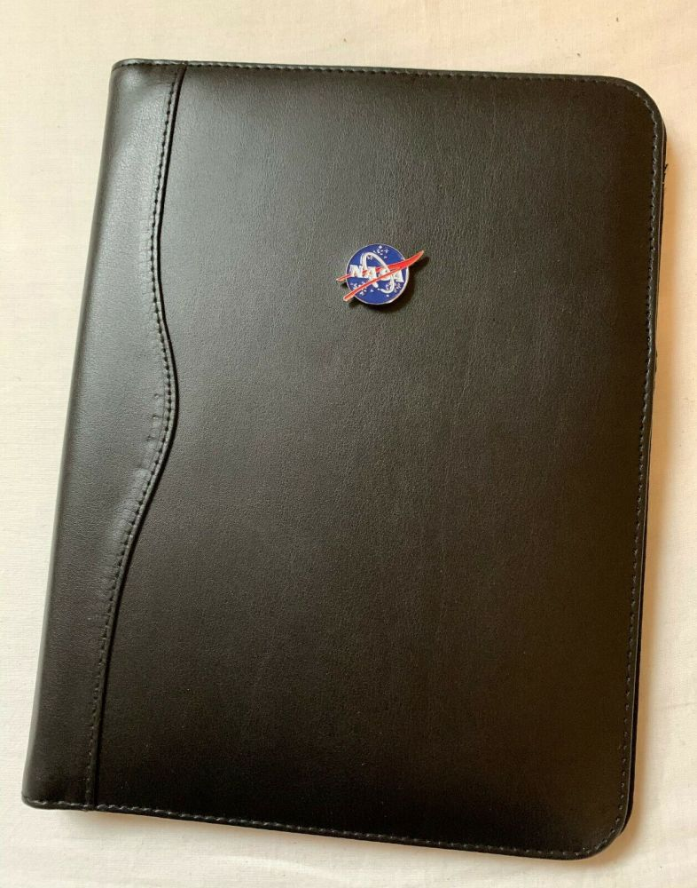 Leather Nasa Space Deluxe Note File Folio Case Metal Logo Plaque Apollo Moo