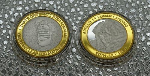 Nasa APOLLO 11 LUNAR/MOON LANDINGS Dual Metal Silver & 24ct Gold Commemorat