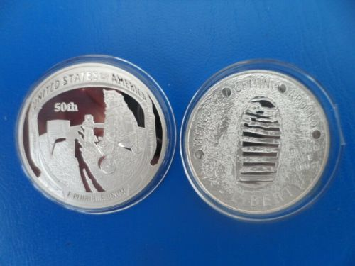 USA NASA Apollo 11 moon landing 50th Anniversary Pure SILVER Plated coin Me