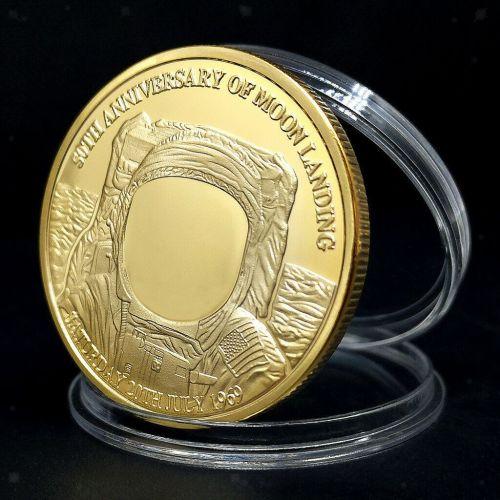 Neil Armstrong  Gold Medallion Moon Landing Commemorative Coin Souvenir 50