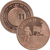 Solid Pure 1oz Copper Apollo 11 NASA Moon Mision Large Medallion Coin Neil Armstrong Buzz Aldrin Astronauts