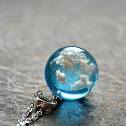 Stunning Clouds Blue Sky Glass Globe sphere Necklace Chain Jewellery