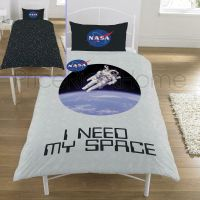 NASA Logo Astronaut Genuine Single Bed Bedding Duvet Set Space Neil Armstrong