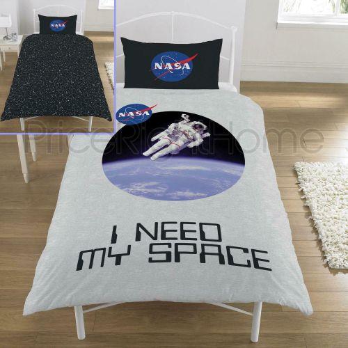 NASA Logo Astronaut Genuine Single Bed Bedding Duvet Set Space Neil Armstro