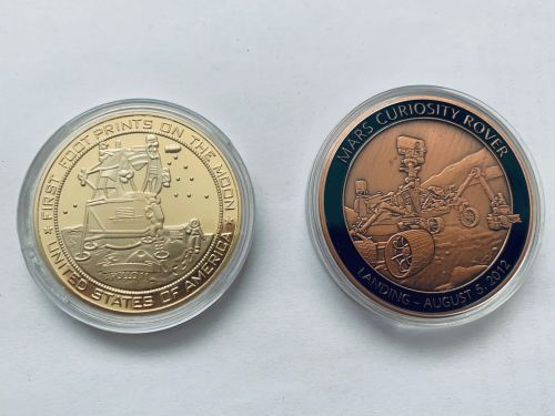 Apollo & Mars Rover Medallion Set Stunning Large Size Coin Medals In Displa