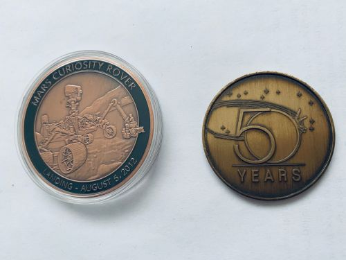 Apollo  11 & NASA 50th Medallion Set Stunning Large Size Coin Medals In Dis