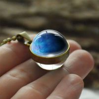 Stunning Pluto Space Planet Glass Globe sphere Necklace Chain Jewellery