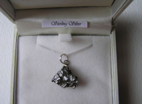 Meteorite Necklace Spacerock on Solid Silver Chain - RS6505 Deeep Space Stu