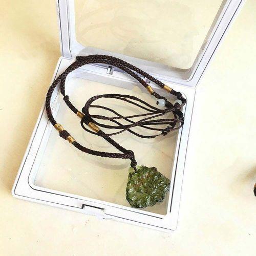 Green Gem Moldavite Meteorite Impact Crystal Czech Necklace Pendant & Rope