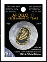 Official NASA Apollo Edition First Footprints Pin Badge With Moon Flown Metal Latest New Aged Bronze Effect Finished