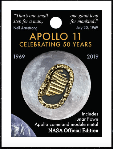 Official NASA Apollo Edition First Footprints Pin Badge With Moon Flown Met
