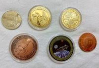 Flown Metal Orion NASA 24k Gold Plated Apollo 11 & Curiosity Mars Rover Space Logo Medallion Set Of 6 Large Size Coin Medals In Display Case