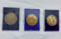 Challenger Accident Apollo 11 & Curiosity Mars Rover NASA Space Logo Medallion Set Of 3 Bronze Large Size Coin Medals In Display Case