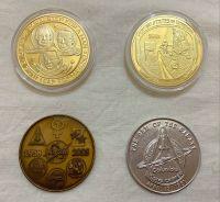 Apollo 11 & Curiosity Mars Rover NASA Space Logo Medallion 4 Set Large Size Coin Medals In Display Case