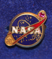 NASA 20 Years Work Service 10K Solid Gold With Ruby Gem Stone Stunning Quality Pin Badge Broach Jewellary