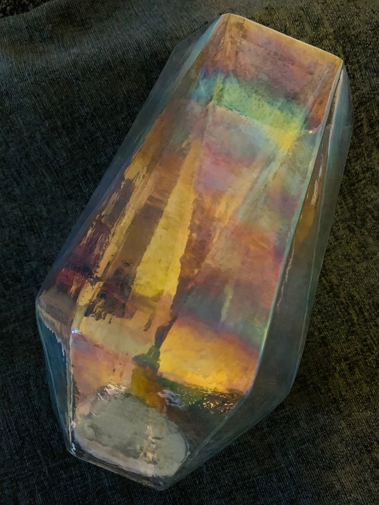 Stunning Galaxy Space Colours Rainbow Effect Large Table Window Glass Vase