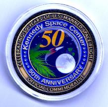 50 Years Anniversary Medallion With Apollo & Shuttle Flown Metal