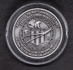 Apollo 40th Anniversary Medallion Contains Metal Flown To The Moon On Apoll