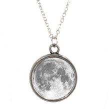 Silver Plated Chain Necklace With Moon Lunar Design Pendant Nasa