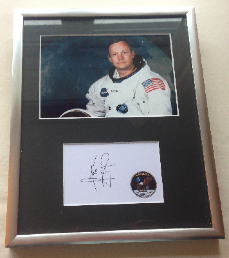 Neil Armstrong Signed 10 X 8 Presentation Mounted & Framed