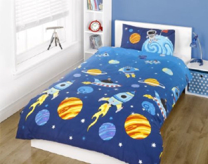 Rockets Planets Outer Space Spaceship Nasa Astronaut Duvet Bed Set