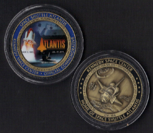 ATLANTIS OFFICIAL NASA MEDALLION CONTAINS METAL FLOWN ON SPACE SHUTTLE MISS